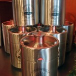 "Stainless Steel ""keg"" growler, Red Rock Downtown Pub"