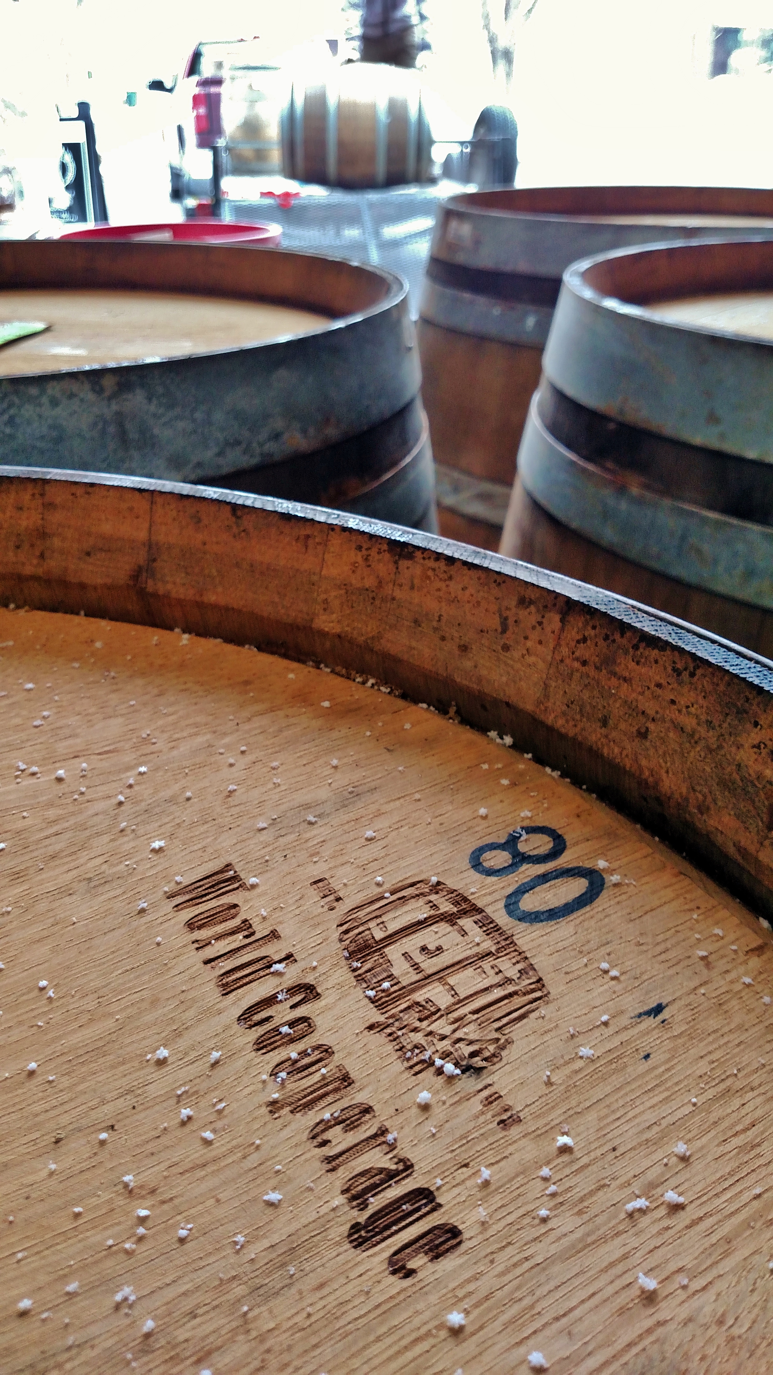 Thirteen new chardonnay barrels arrive at Red Rock during a gentle snowfall.