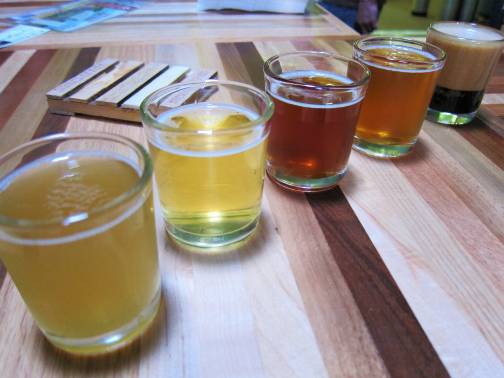 From left to right: Jack Wagon Wheat, Malosi Pils, Ready To Fly Amber, Misdirected IPA, Nitro Stout.